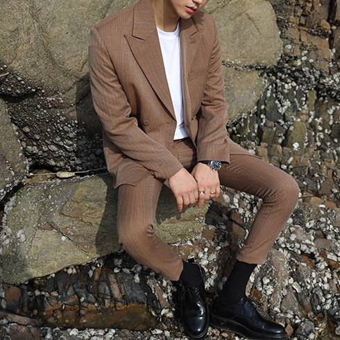 ENC 17F/W Stripe Suit (Brown)