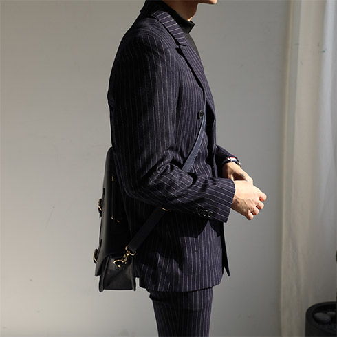 R Wool Stripe Double Suit (Navy)